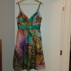 Rainbow marble watercolor silk dress